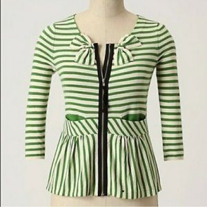 Anthropologie Moth green striped cardigan sweater